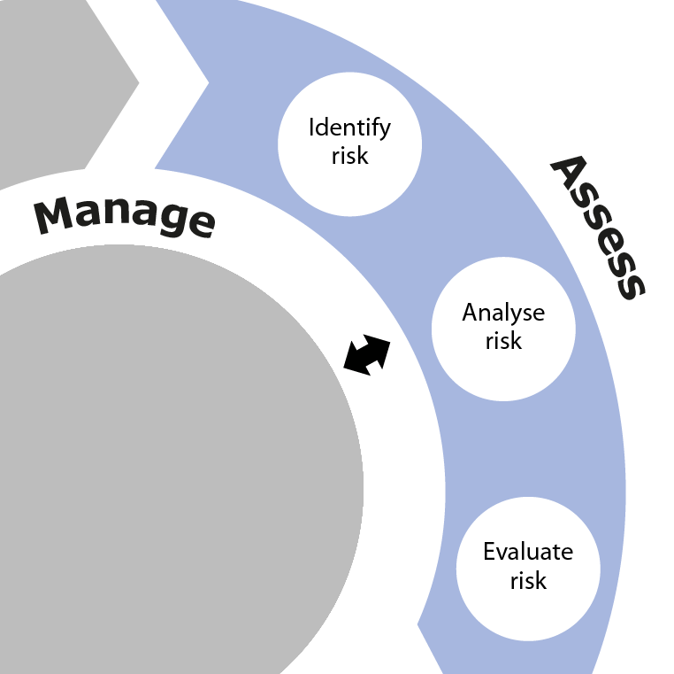 Diagram showing the Assess phase as part of the overall SSA process. This phase involves Identify risk, Analyse risk and Evaluate risk.