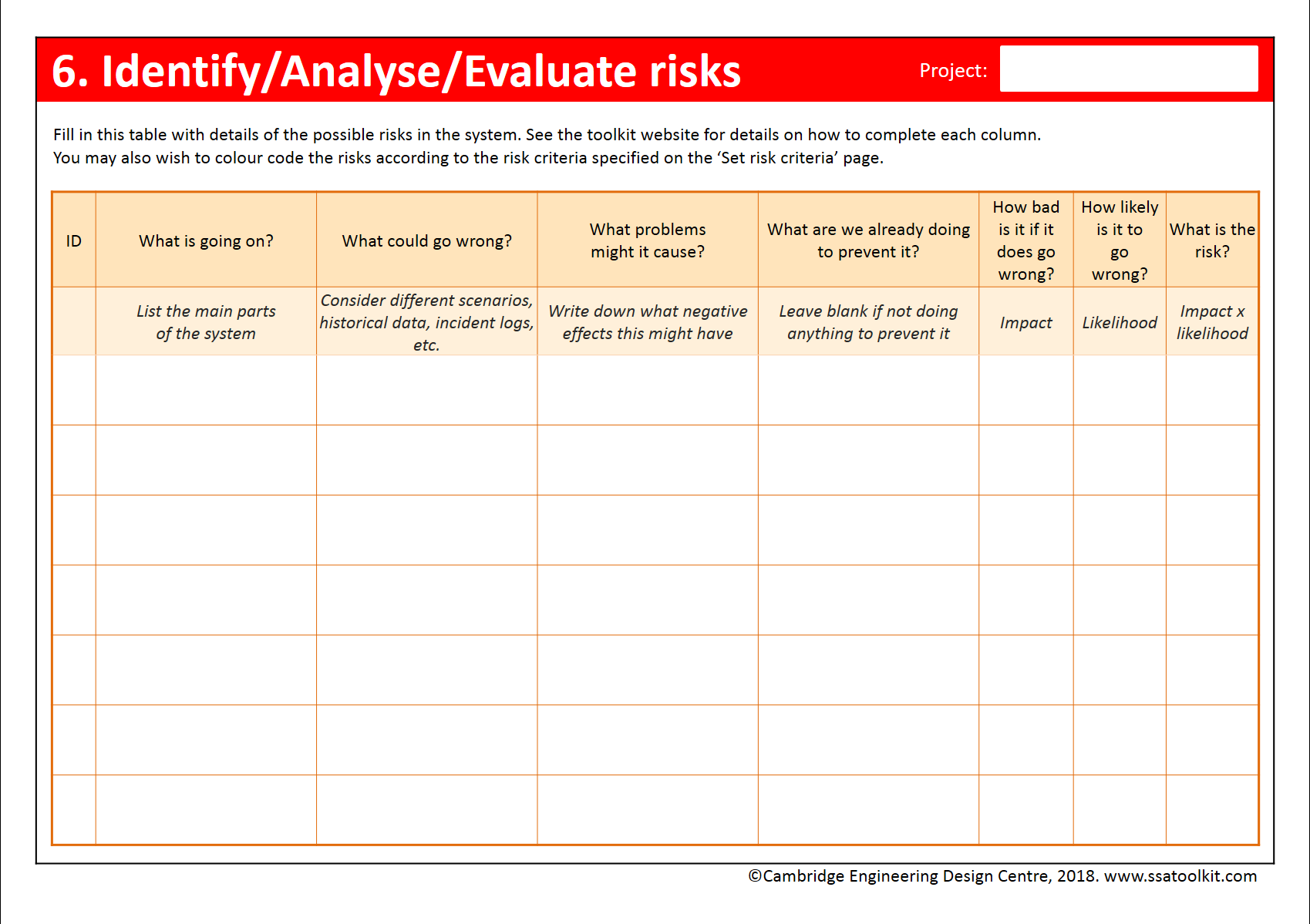 Screenshot of the Identify/Assess/Evaluate risks page of the assessment form