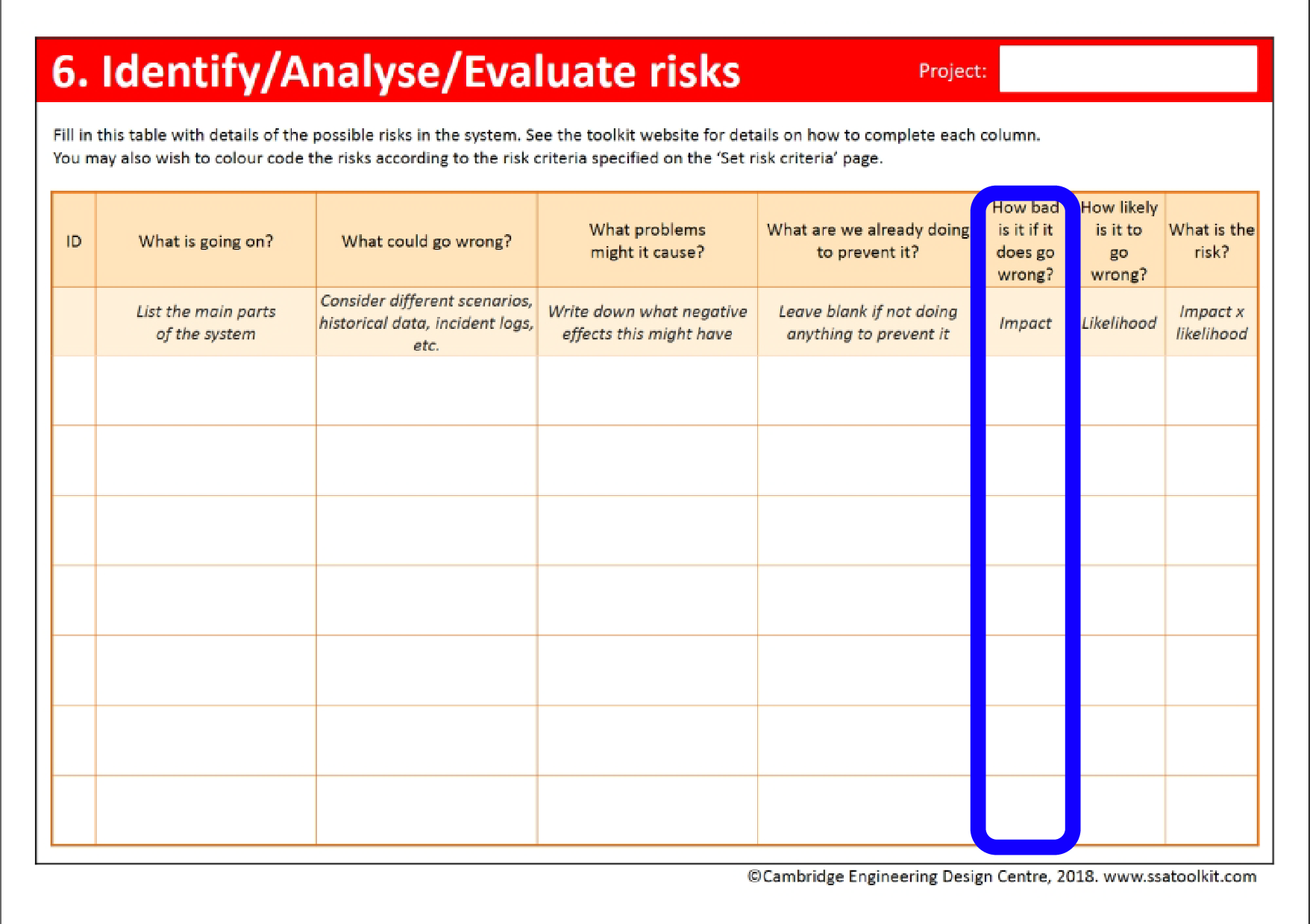 Screenshot of the Set risk criteria page of the assessment form