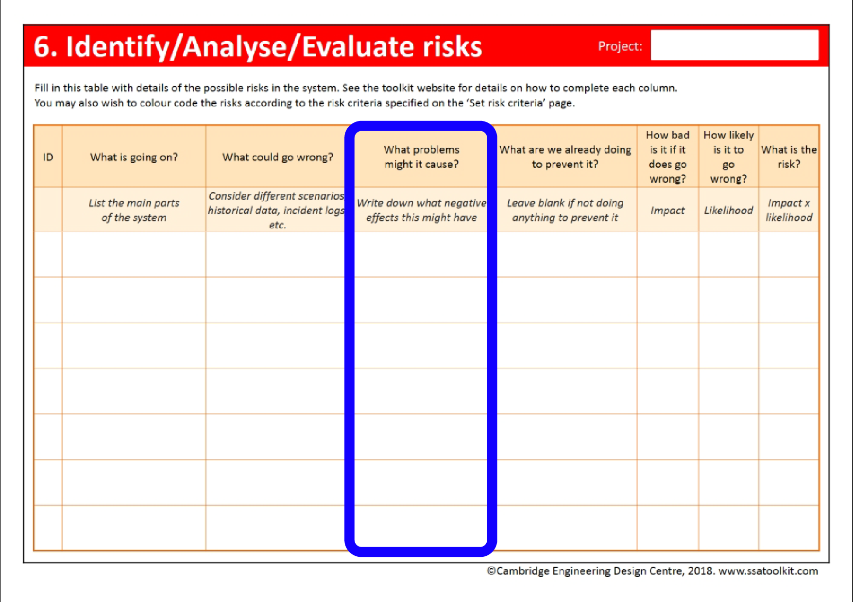 Screenshot of the Risks page of the assessment form