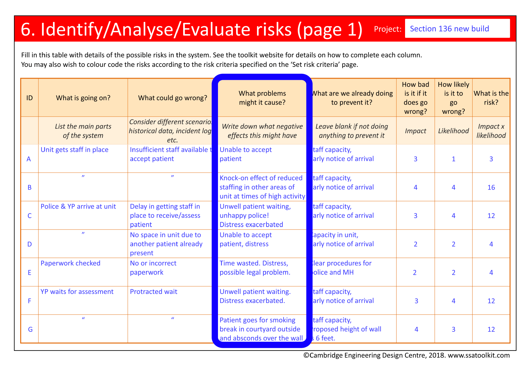Screenshot of one of the Risks pages from the Section 136 case study. The full form in pdf is available from the Resources page.