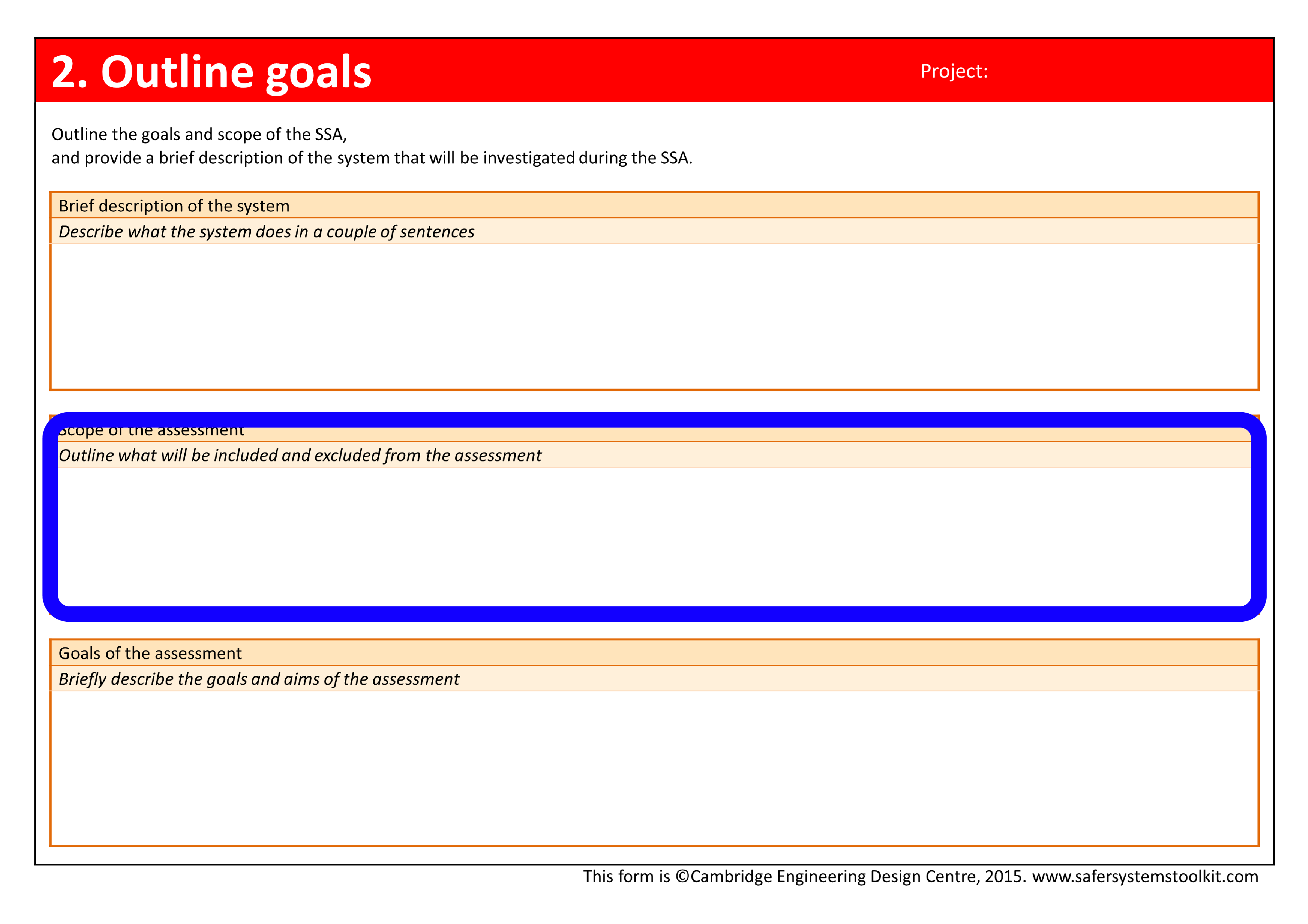 Screenshot of Outline goals page of the assessment form