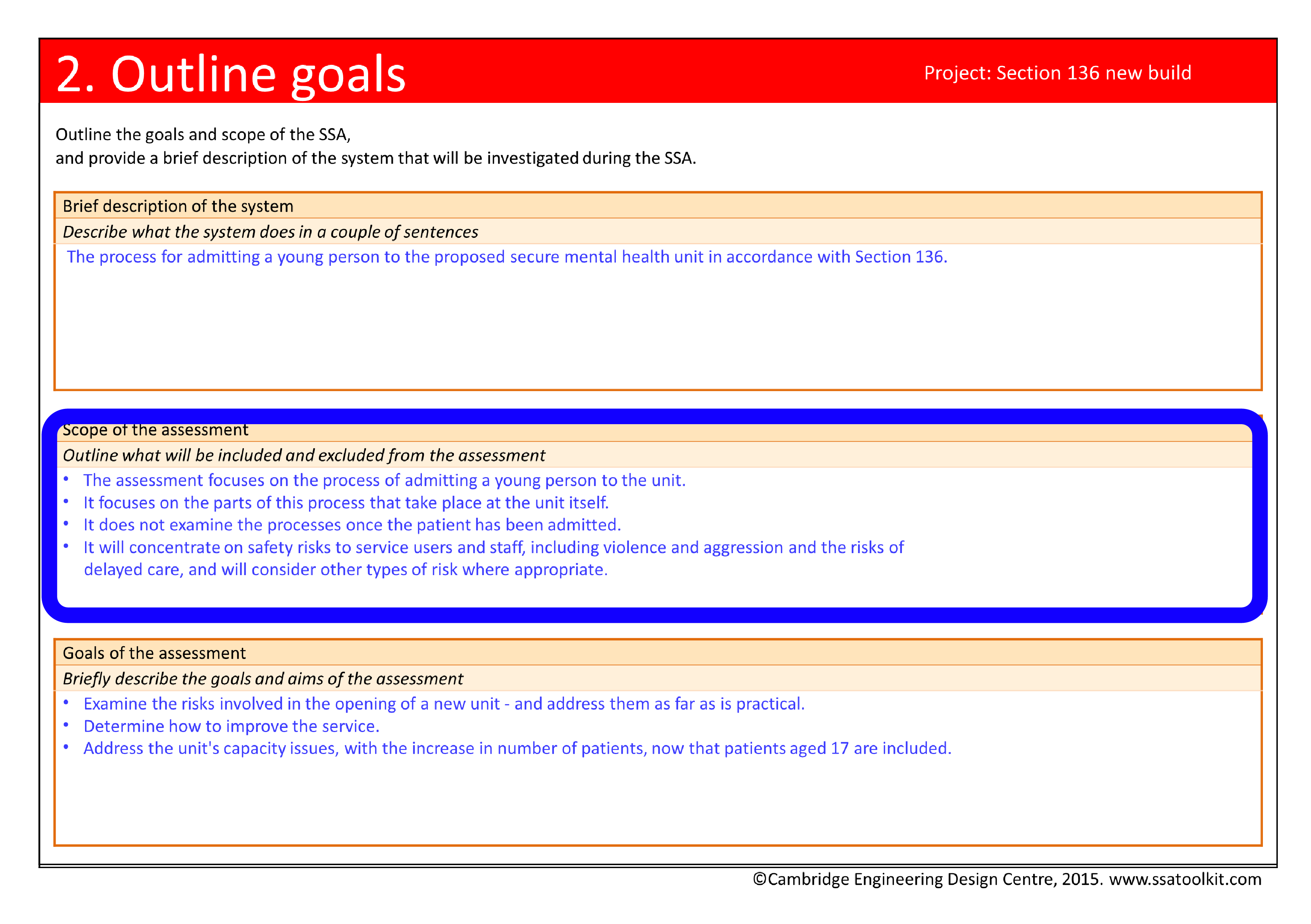 Screenshot of the Outline goals page from the Section 136 case study. The full form in pdf is available from the Resources page.