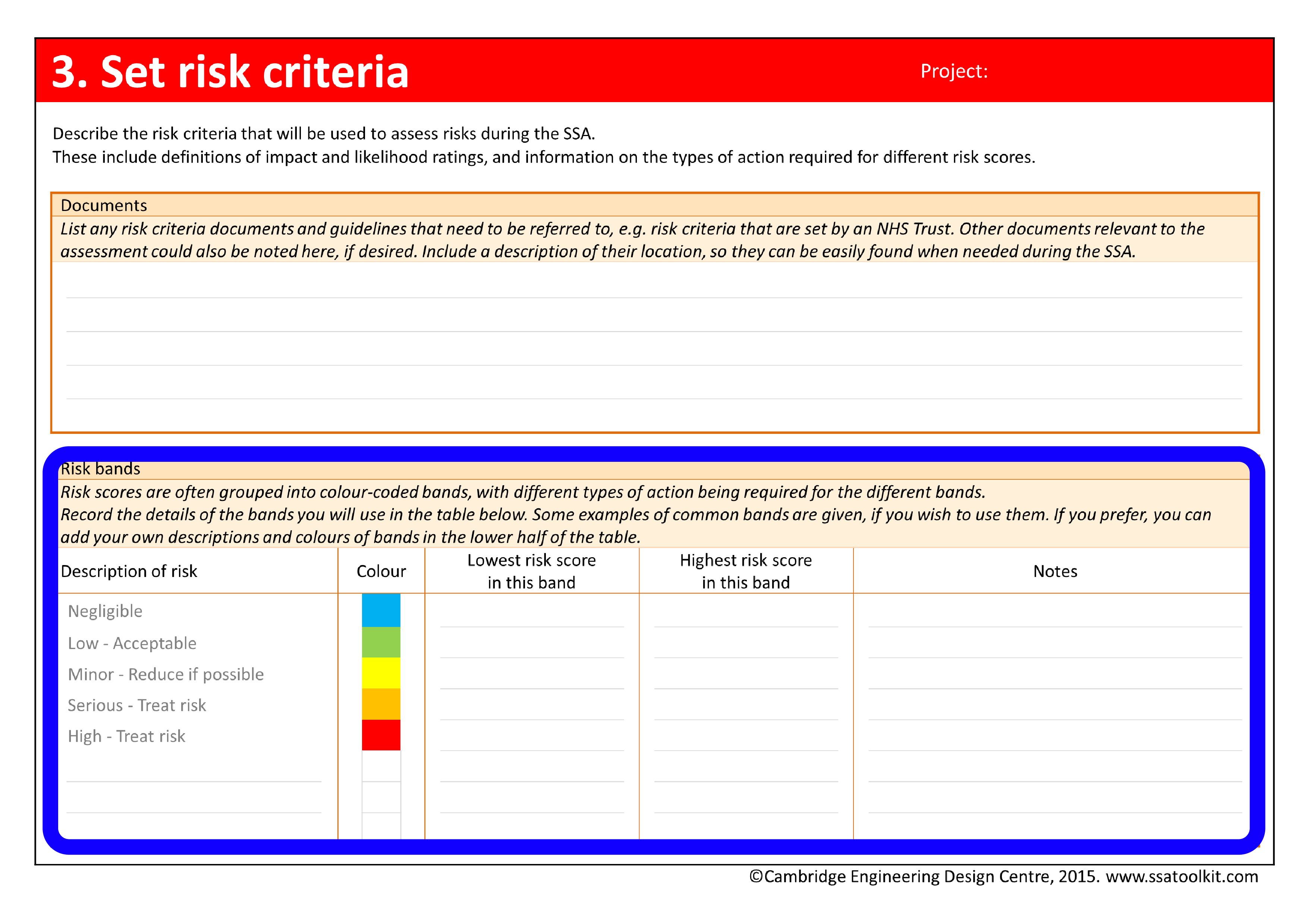 Screenshot of Set risk criteria page of the assessment form