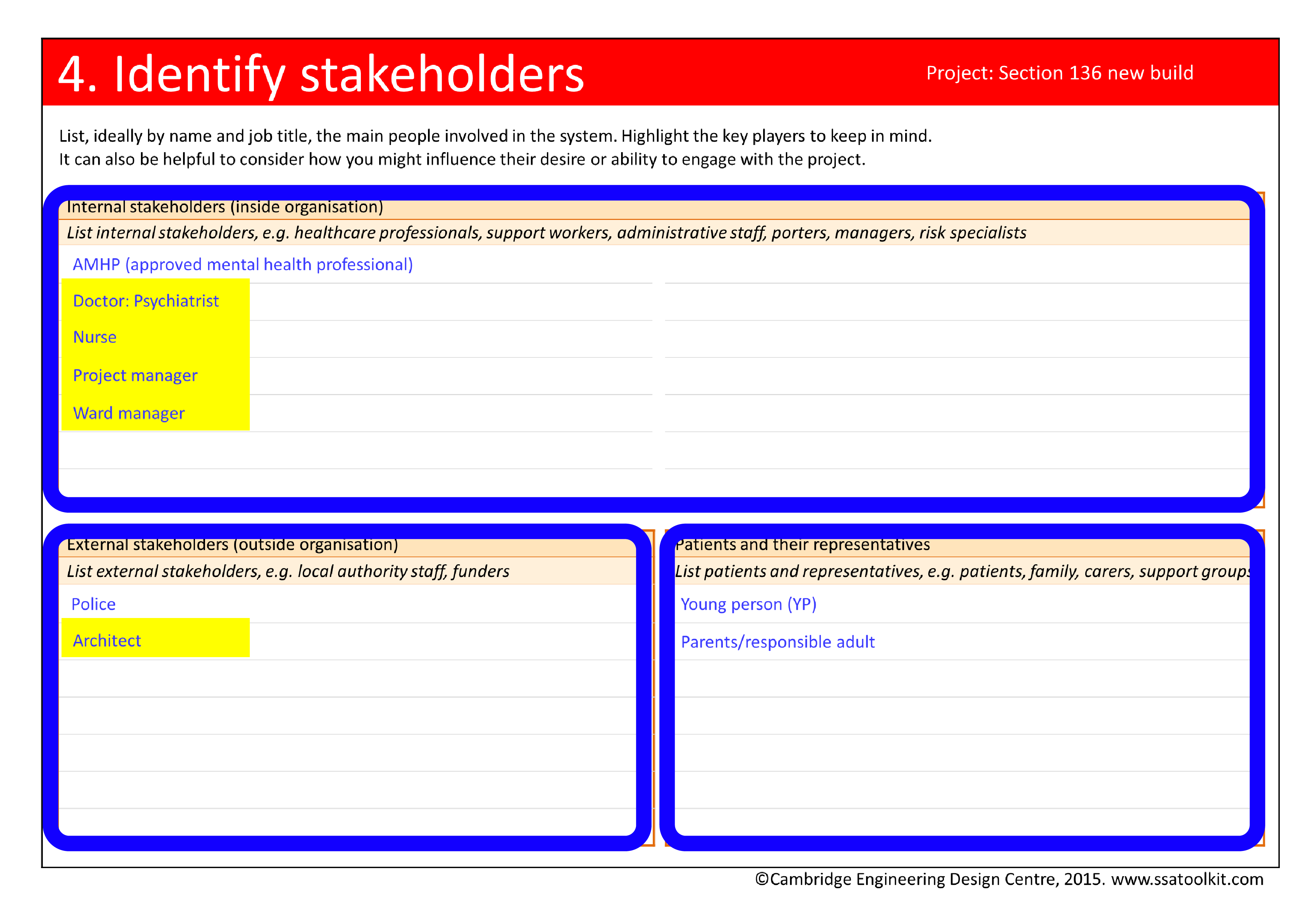 Screenshot of the Identify stakeholders page from the Section 136 case study. The full form in pdf is available from the Resources page.