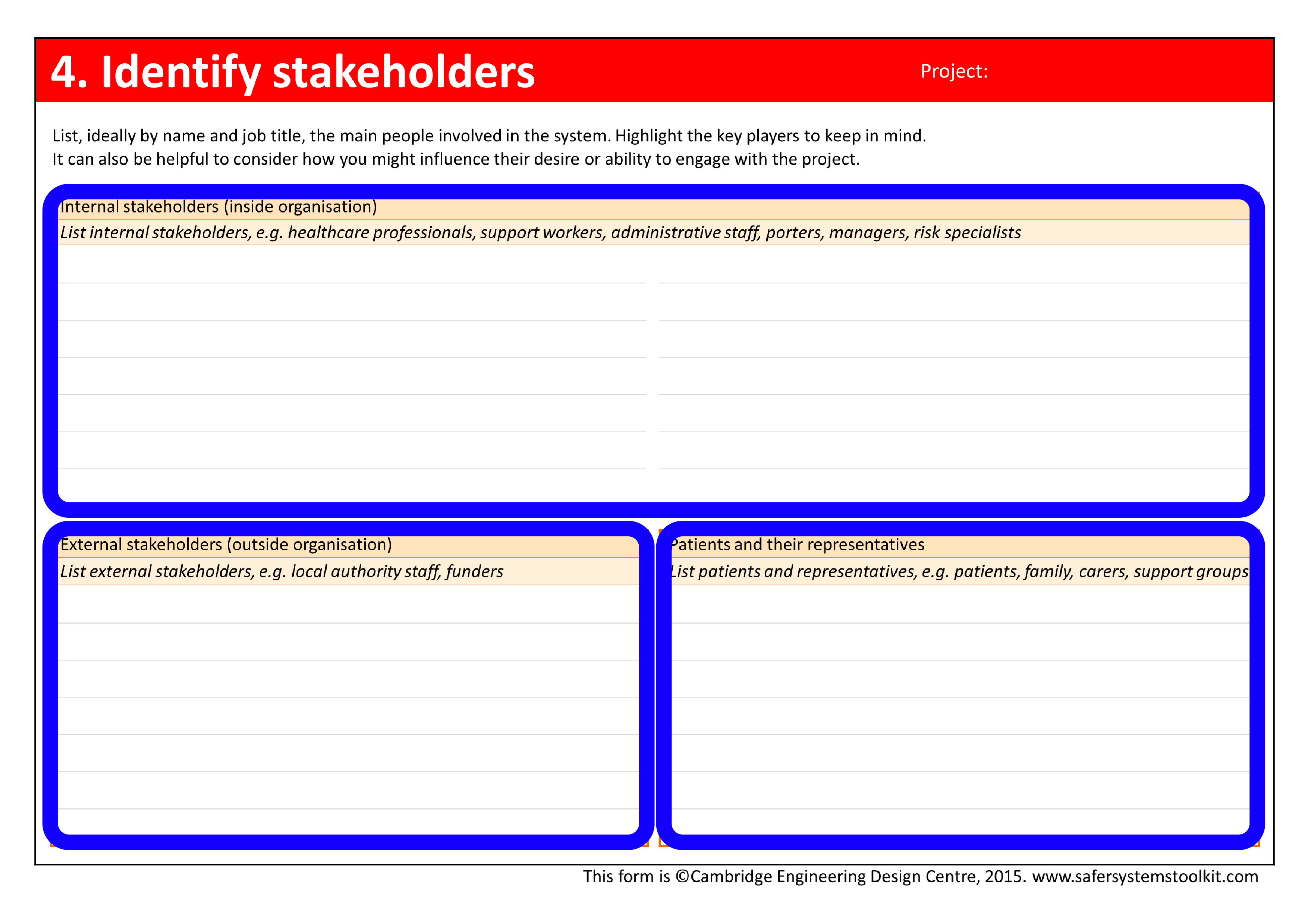 Screenshot of Identify stakeholders page of the assessment form