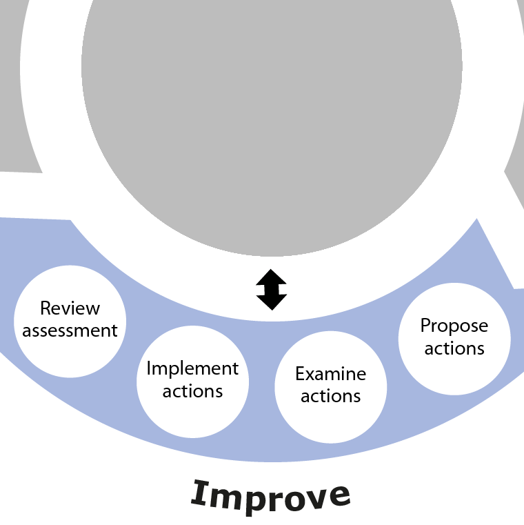 Diagram showing the Improve phase as part of the overall SSA process. This phase involves Propose actions, Examine actions, Implement actions and Review assessment.