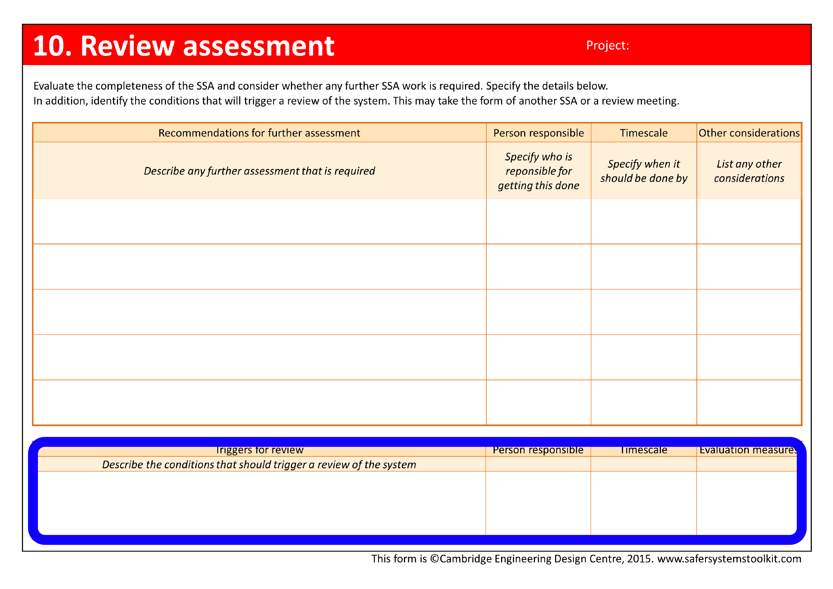 Screenshot of Review assessment page of the assessment form