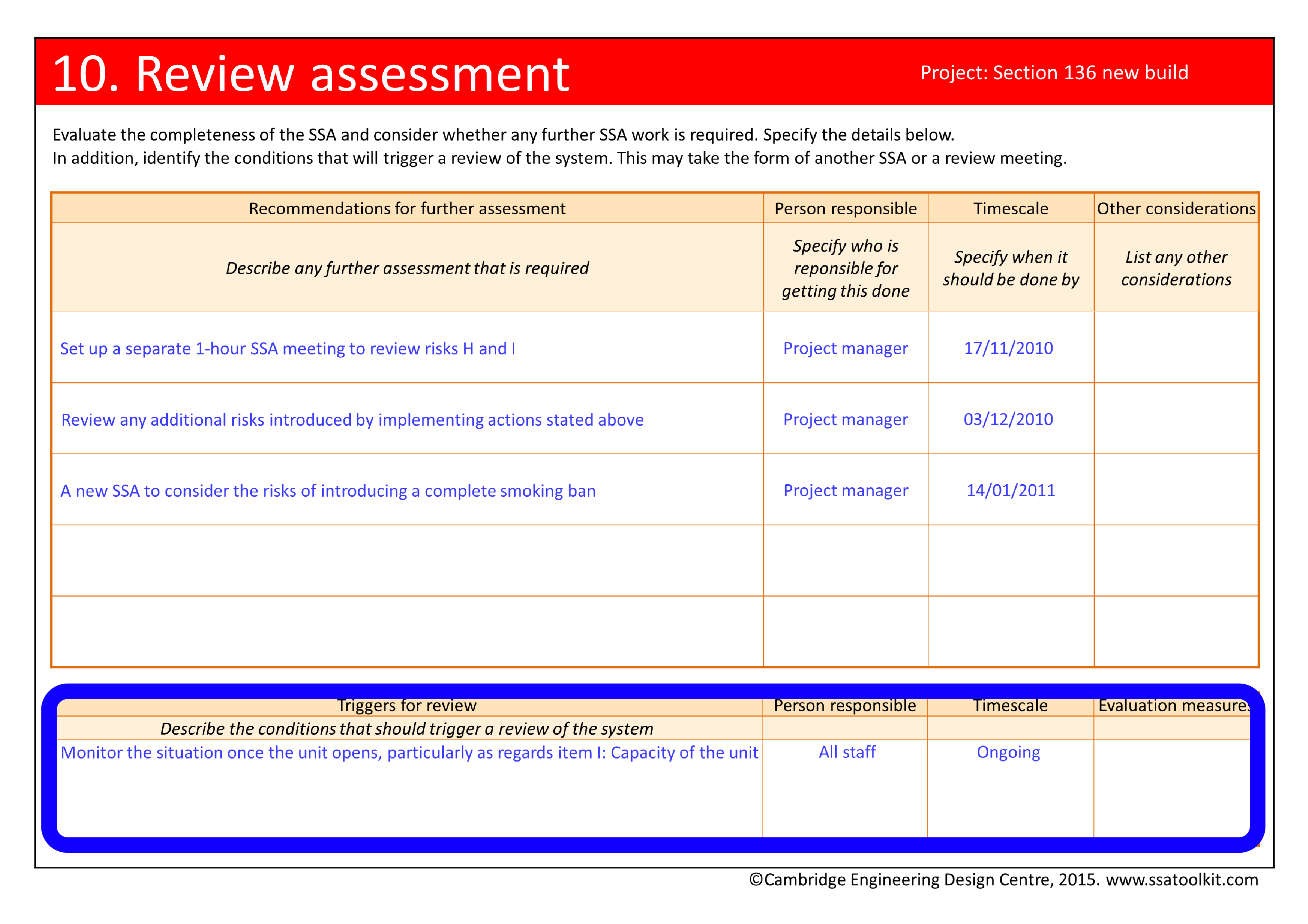 Screenshot of the Review assessment page from the Section 136 case study. The full form in pdf is available from the Resources page.