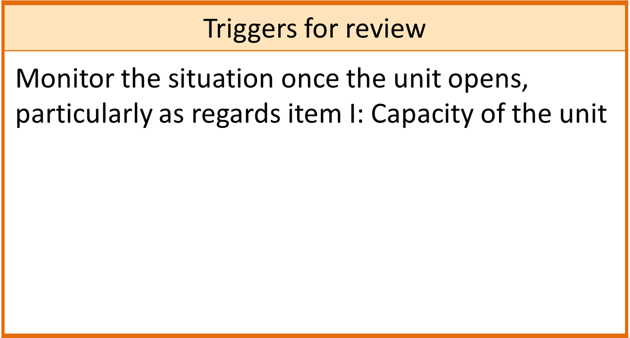 The Triggers for review from a case study: Monitor the situation once the unit opens, particularly as regards item I: Capacity of the unit.