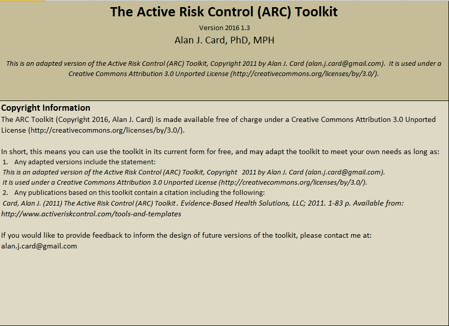 Small screenshot of the introductory page from the ARC Toolkit, showing title and copyright information